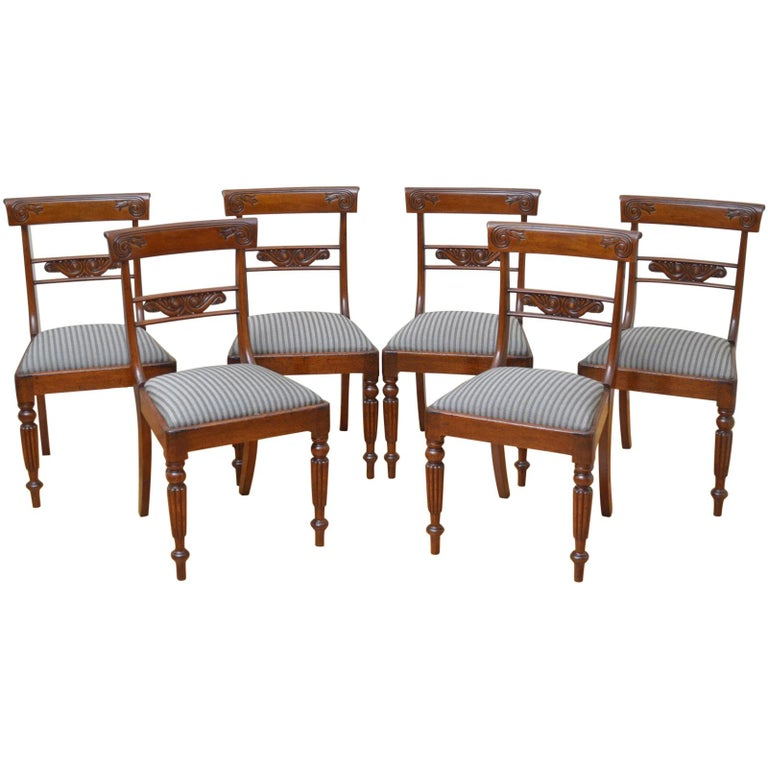 Set of 6 William IV Mahogany Dining Chairs For Sale