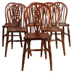 Set of 6 Windsor Chairs in Oak, 19th Century