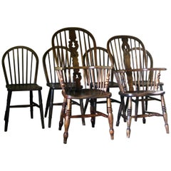 Set of 6 Windsor Dining Chairs, English, Antique Dining Chairs, Oak Chairs