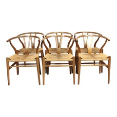 Set of 6 Wishbone Chairs by Hans J. Wegner and Carl Hansen and Son, 1960s