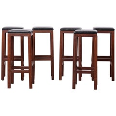 Set of 6 Wood and Leather Mid-Century Modern Barstools, 1960s