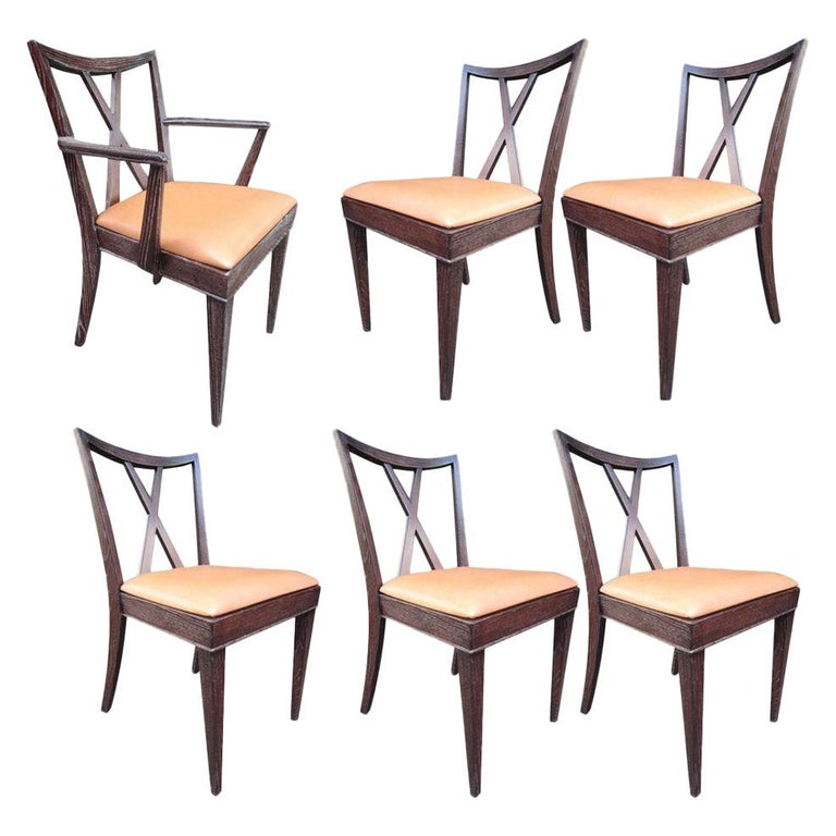 Set of 6 X-Back Dining Chairs by Paul Frankl For Sale
