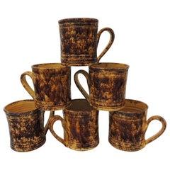 Set of '6' Yellow and Brown Spongeware Handmade Mugs