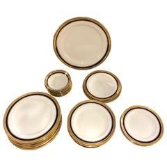 Set of 50 Piece Cauldon, England Gold Rimmed Bone China Set