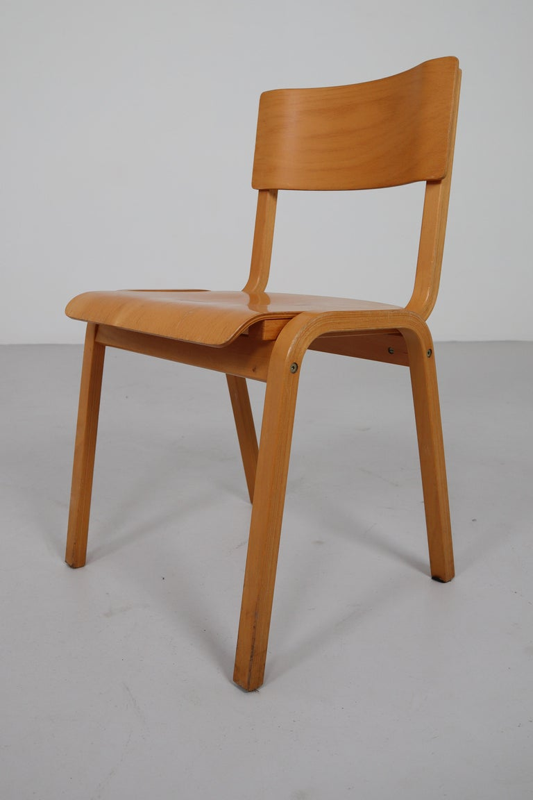 Set of 60 x comfortable plywood stacking chairs, produced in Scandinavian in the 1960s. These Scandinavian Modern design chairs have a blond bentwood frame and beautifully curved plywood seats and also stackable. Minor wear consistent with age and