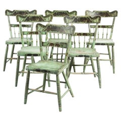 Set of 6 19th Century American Country Green Painted Dining Chairs, c. 1820-30