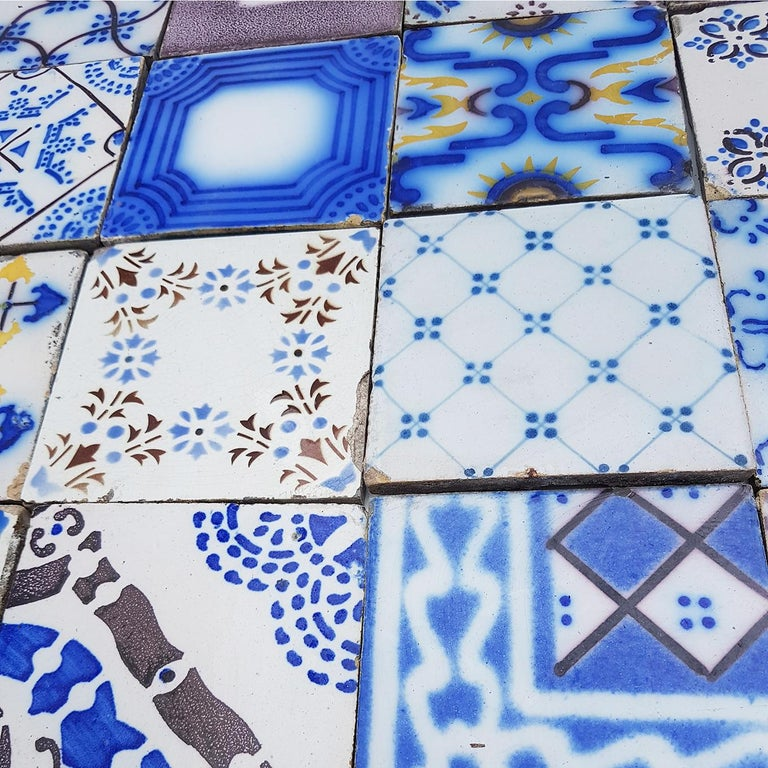 Set of 64 Antique Ceramic Tiles by Pas de Cailes Desvres, France, circa 1890s For Sale 3