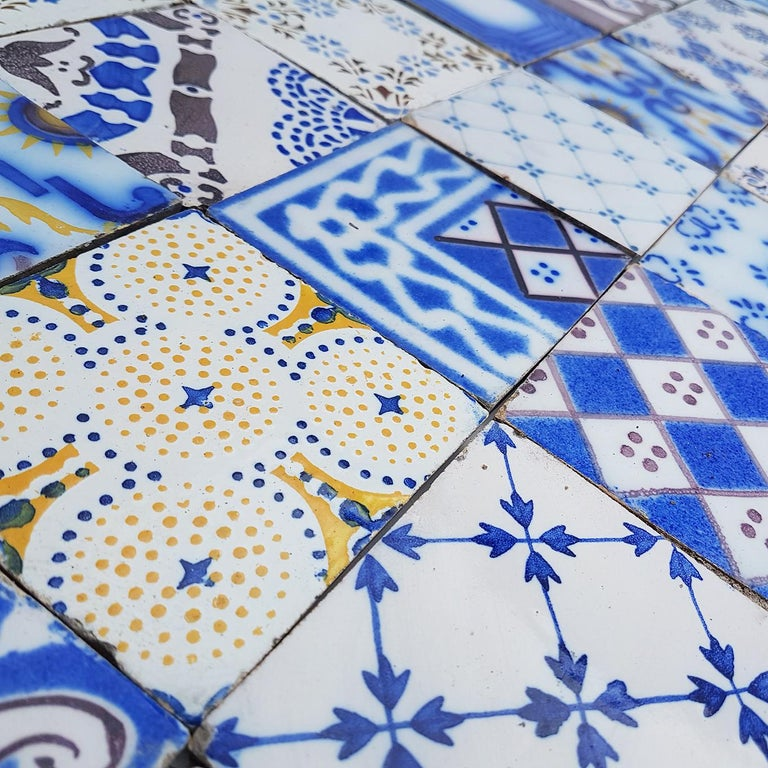 Set of 64 Antique Ceramic Tiles by Pas De Cailes Desvres, France, circa 1890s For Sale 5
