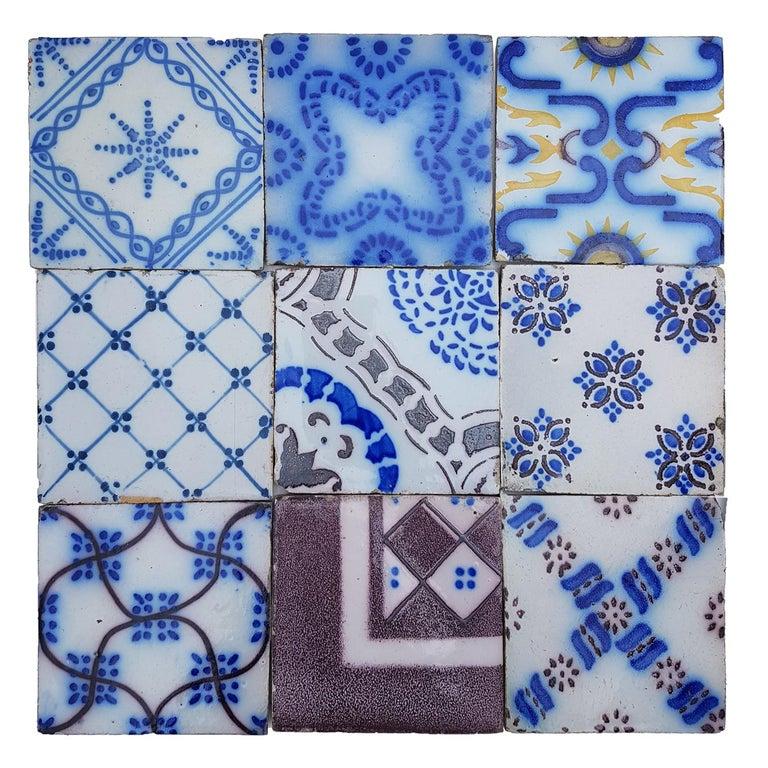 Set of 64 Antique Ceramic Tiles by Pas De Cailes Desvres, France, circa 1890s For Sale 6