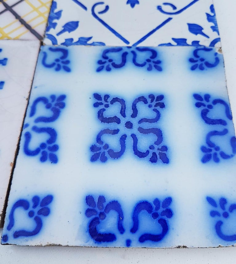 French Set of 64 Antique Ceramic Tiles by Pas de Cailes Desvres, France, circa 1890s For Sale