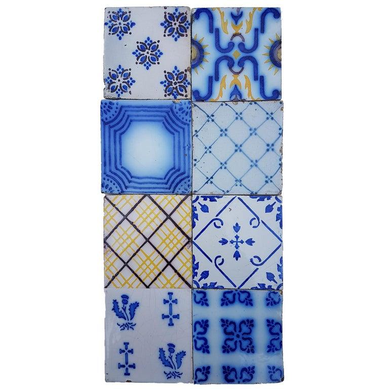 French Set of 64 Antique Ceramic Tiles by Pas De Cailes Desvres, France, circa 1890s For Sale