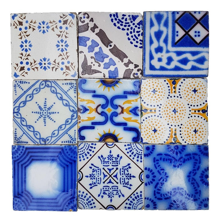 Glazed Set of 64 Antique Ceramic Tiles by Pas de Cailes Desvres, France, circa 1890s For Sale