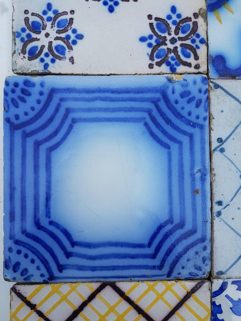 Late 19th Century Set of 64 Antique Ceramic Tiles by Pas de Cailes Desvres, France, circa 1890s For Sale