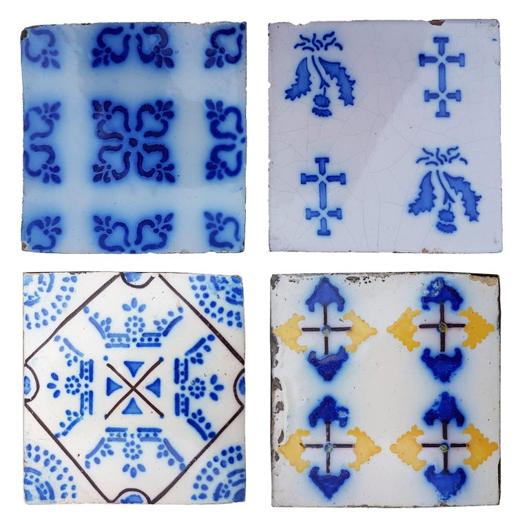 Set of 64 Antique Ceramic Tiles by Pas de Cailes Desvres, France, circa 1890s For Sale 1