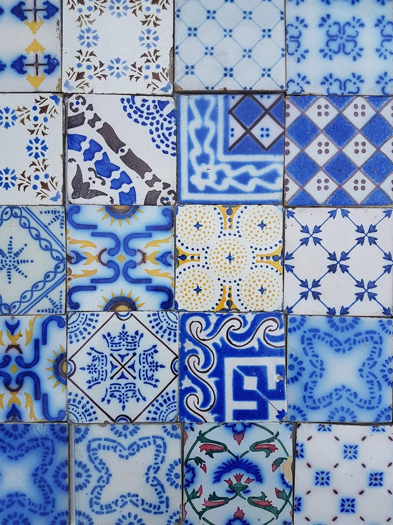 Set of 64 Antique Ceramic Tiles by Pas de Cailes Desvres, France, circa 1890s For Sale 2