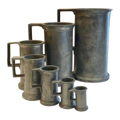 Set of 7 Antique French Pewter Signed Graduated Measuring Tankards, circa 1770s