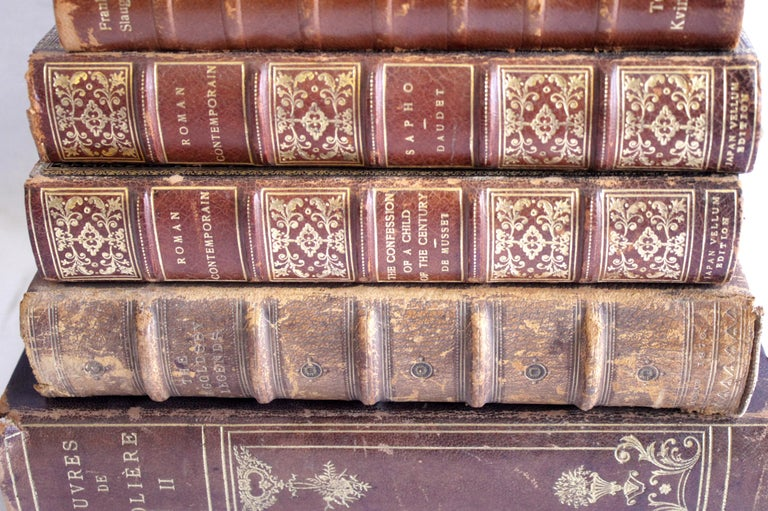 European Set of 7 Antique Leather Bound Books For Sale