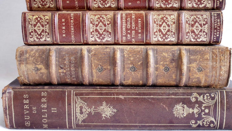 Set of 7 Antique Leather Bound Books In Fair Condition For Sale In Brea, CA