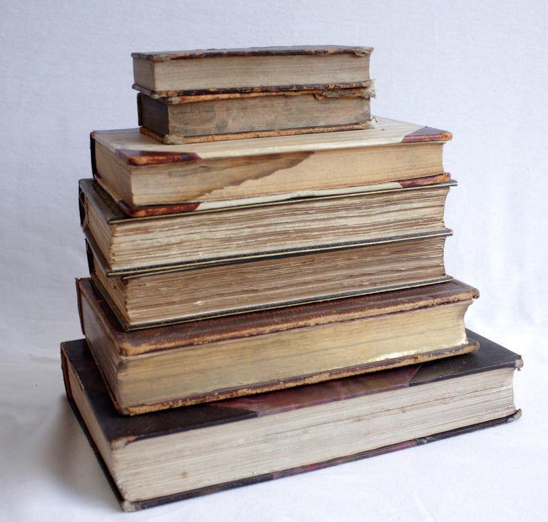 19th Century Set of 7 Antique Leather Bound Books For Sale
