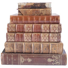 Set of 7 Antique Leather Bound Books