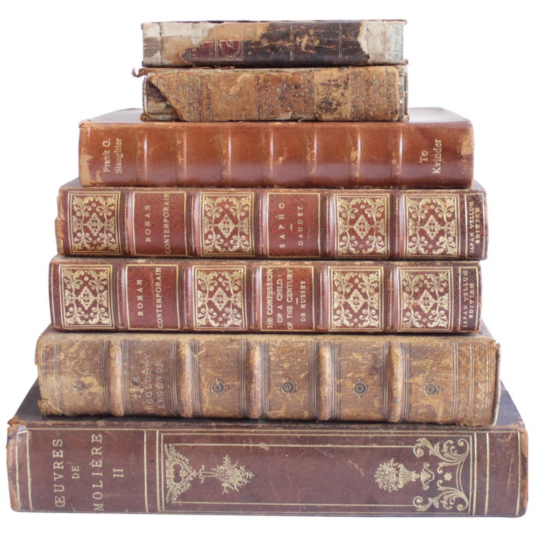 Set of 7 Antique Leather Bound Books For Sale