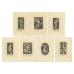 Set of 7 Antique Prints of Various Personifications by Von Prenner, '1748'