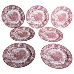 Set of 7 Antique Woods Burslem Enoch Red Transferware Turkey Dinner Plates