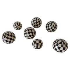 Set of '7' Black and White Camel Bone Round Decorative Spheres