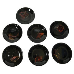 Set of 7 Black Dining Plates with Hand Painted Aquatic Animals, France, 1960s