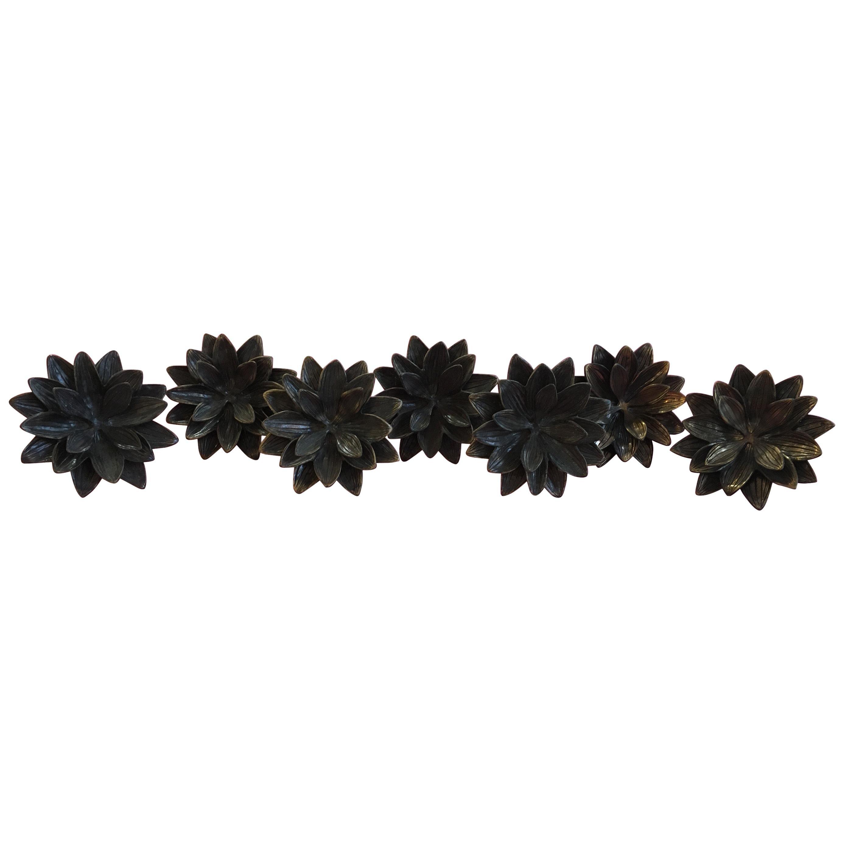 Set of 6 Brass Lotus Flower Drapery Tie Backs or Rod Holders