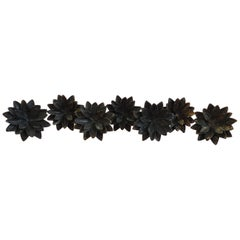 Set of 7 Brass Lotus Flower Drapery Tie Backs or Rod Holders