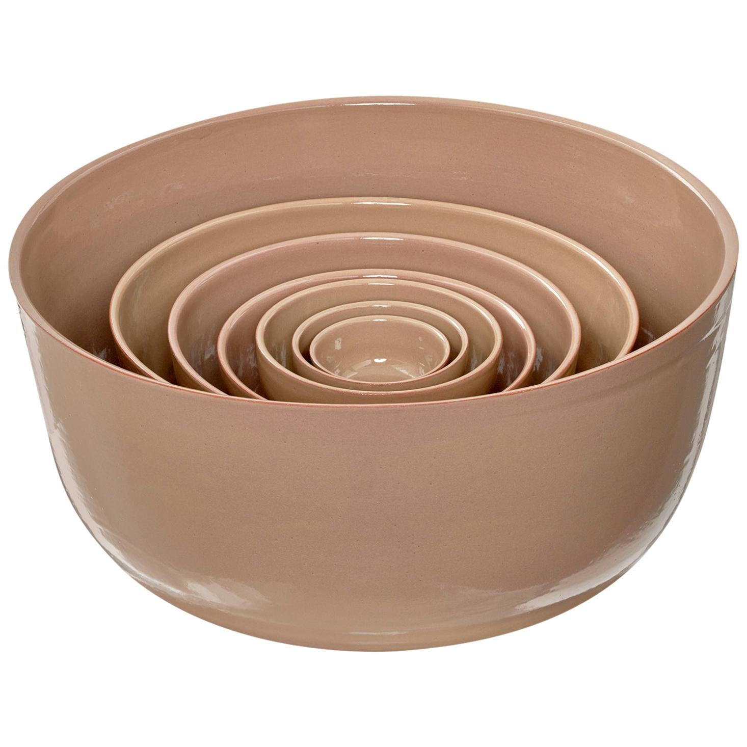 "Set of 7 Brown Ceramic Bowls ""GIRO"" by Julie Richoz"