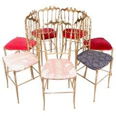 Set of 7 Chiavari Brass Chairs