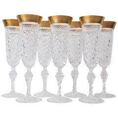 Set of 7 Crystal Champagne Glasses Victoria Gold by Klokotschnik Zwiesel Germany