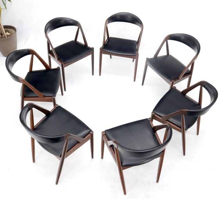 Mid-Century Modern Set of 7 Danish Modern Kai Kristiansen Teak Dining Chairs  For Sale