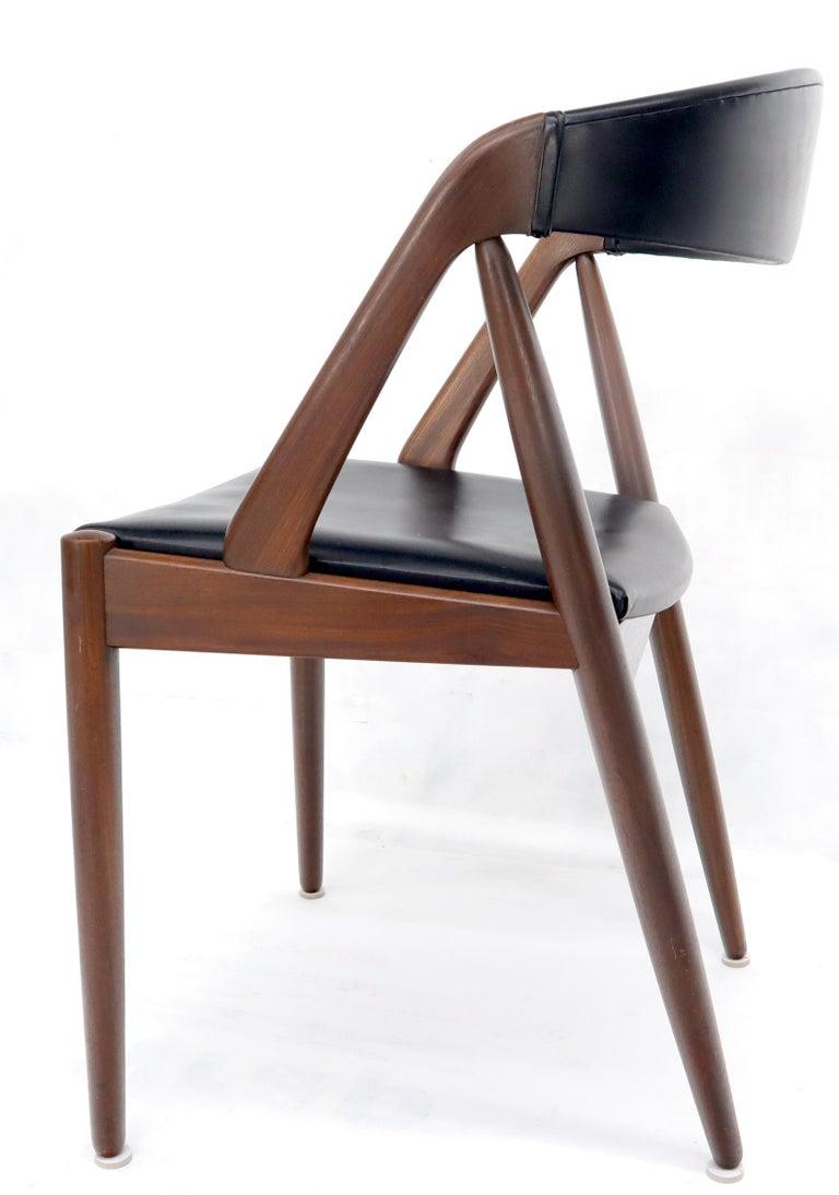 Set of 7 Danish Modern Kai Kristiansen Teak Dining Chairs  In Good Condition For Sale In Rockaway, NJ