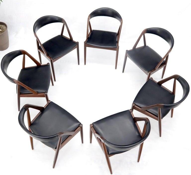 20th Century Set of 7 Danish Modern Kai Kristiansen Teak Dining Chairs  For Sale