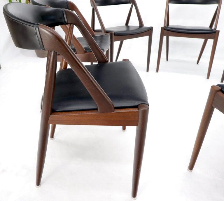 Set of 7 Danish Modern Kai Kristiansen Teak Dining Chairs  For Sale 3