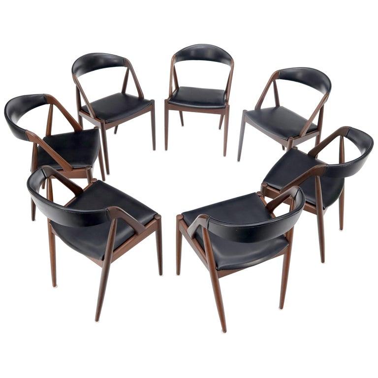 Set of 7 Danish Modern Kai Kristiansen Teak Dining Chairs  For Sale