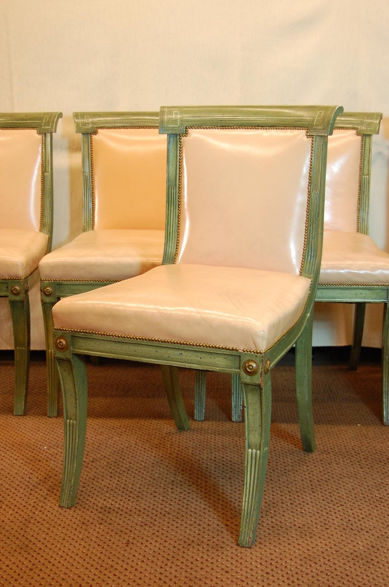 British Set of 7 English Regency Style Green Polychromed Side Chairs with Saber Legs For Sale