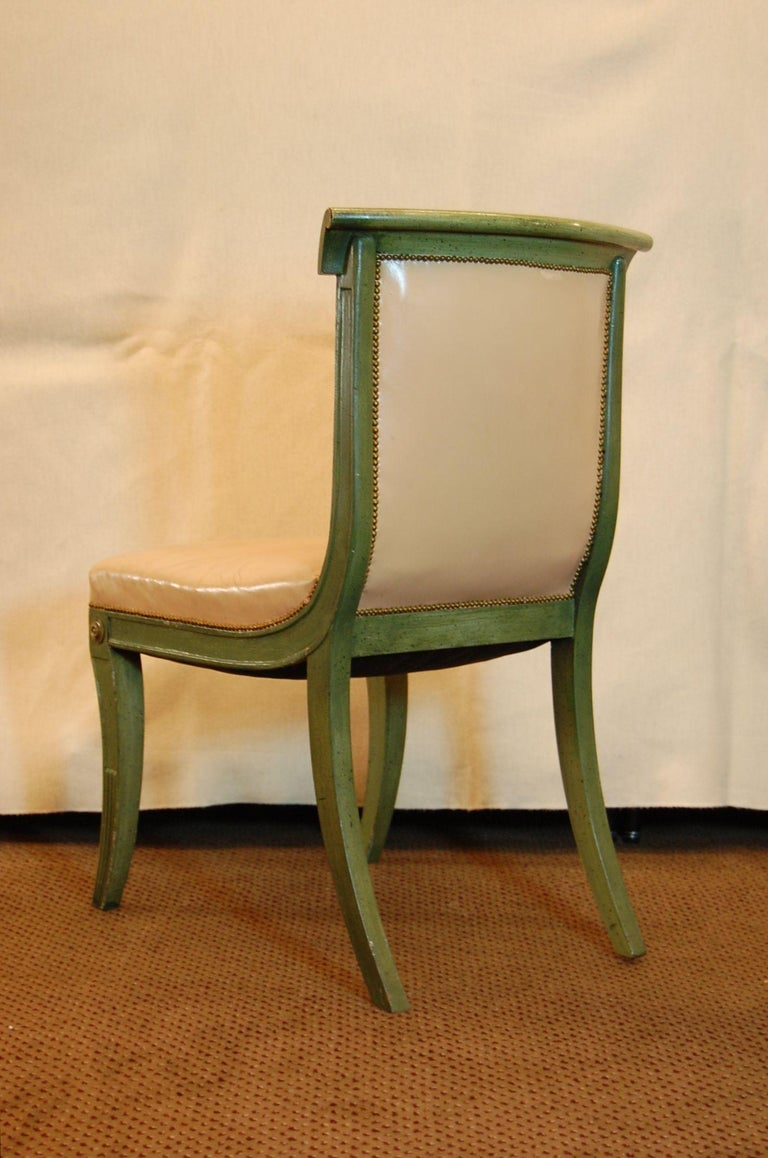 Set of 7 English Regency Style Green Polychromed Side Chairs with Saber Legs In Fair Condition For Sale In Pittsburgh, PA