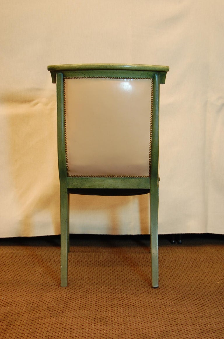 Early 20th Century Set of 7 English Regency Style Green Polychromed Side Chairs with Saber Legs For Sale