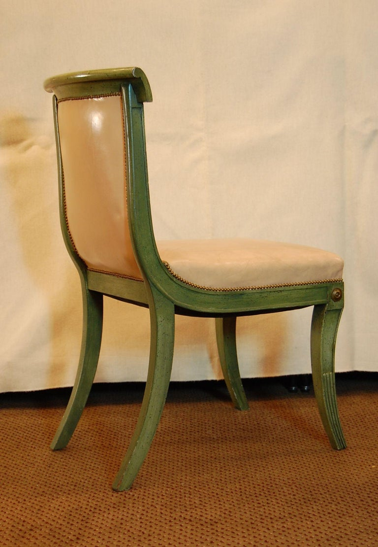 Mahogany Set of 7 English Regency Style Green Polychromed Side Chairs with Saber Legs For Sale