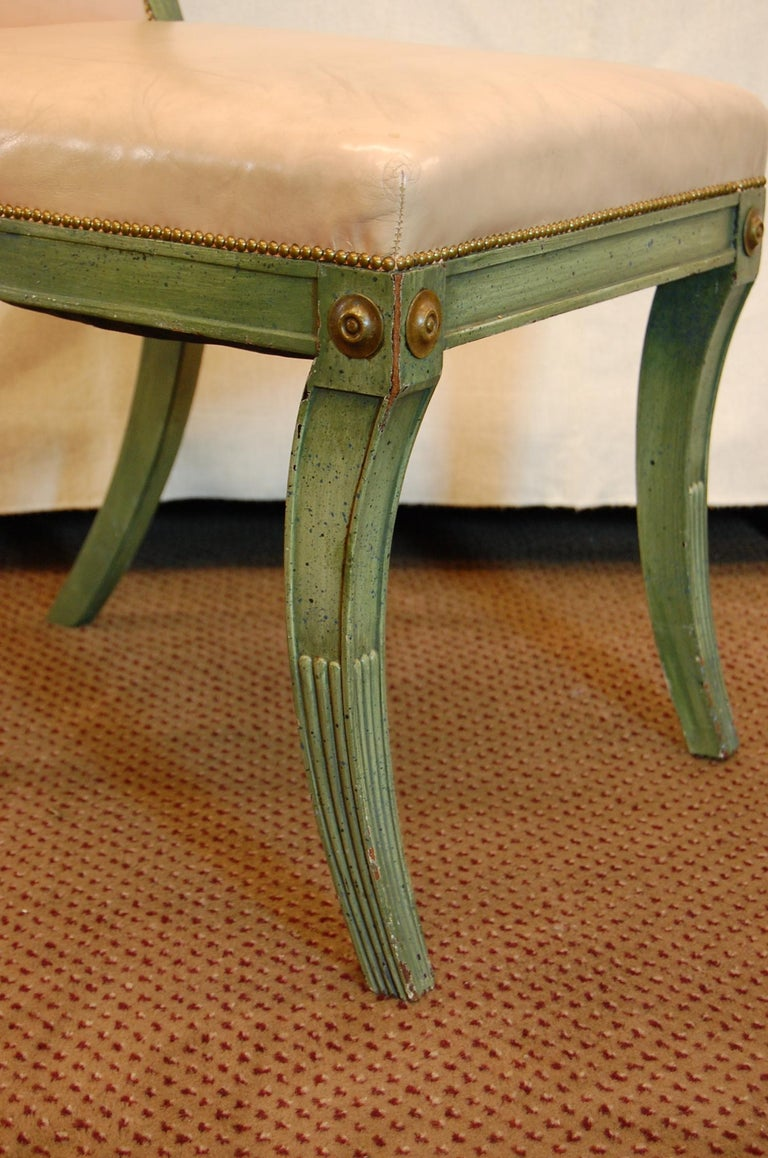 Set of 7 English Regency Style Green Polychromed Side Chairs with Saber Legs For Sale 1