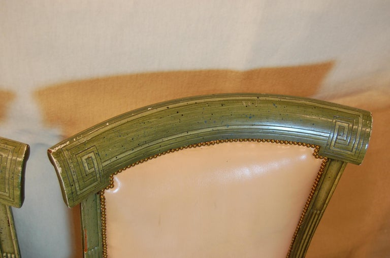 Set of 7 English Regency Style Green Polychromed Side Chairs with Saber Legs For Sale 2