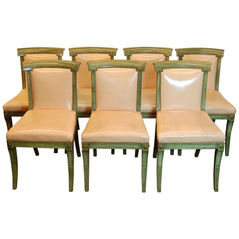 Set of 7 English Regency Style Green Polychromed Side Chairs with Saber Legs For Sale