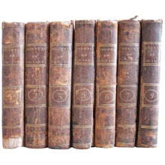 Set of 7 European Leather Bound Books Oeuvre de Oulange