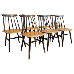 Set of 7 'Fanett' Dining Chairs by Ilmari Tapiovaara for Edsby Verken