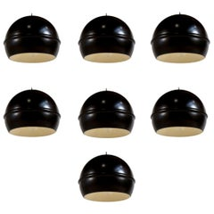 Set of 7 French 1960s Black Globe Pendants