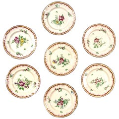 Set of 7 French Faience Plates, Late 19th Century